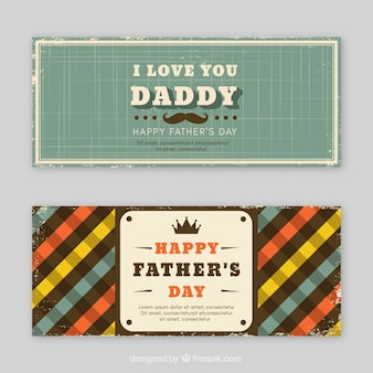 Set of father's day banners with vintage elements