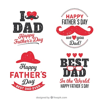 Set of father's day labels with different elements