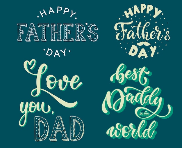 Set of father's day lettering quotes
