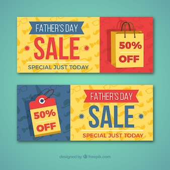 Set of father's day sale banners in flat style