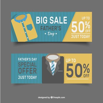 Set of father's day sale banners with clothes