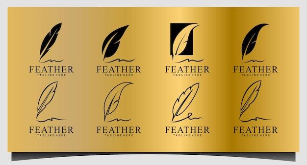 깃털 펜, 미니멀리즘 서명 필기 로고 디자인 벡터 설정