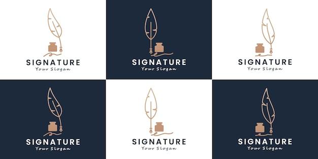 Set of feather pen signature logo design stationery