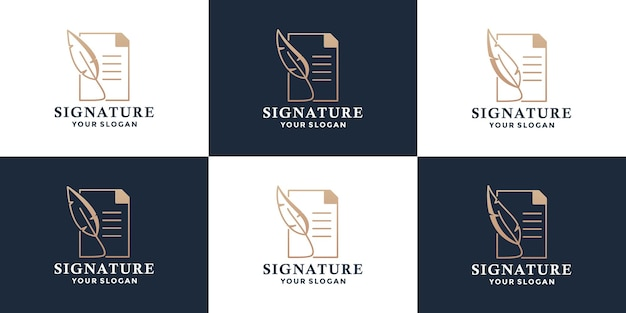 Set of feather pen signature with note logo design templates