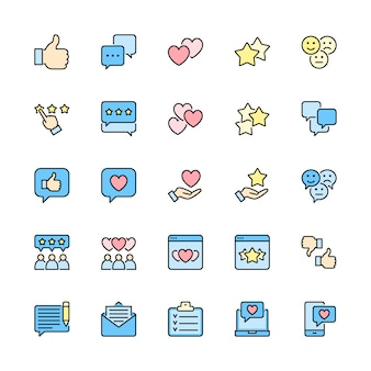 Set of feedback flat color line icons. thumb up, like, dislike, hearts and more.