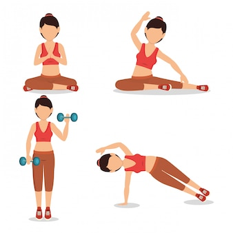 Set of female athlete character practicing exercise illustration