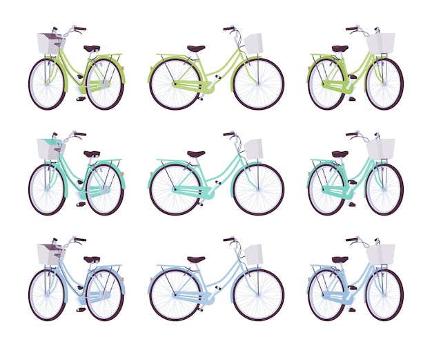 Set of female bicycles with basket in green, turquoise, blue colors
