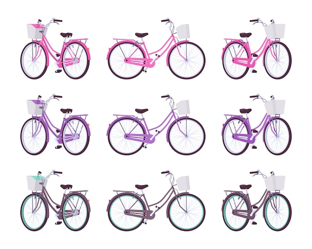 Set of female bicycles with basket in pink, purple, black colors