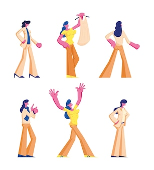 Set of female characters in casual and formal clothing stand in different postures. cartoon flat illustration