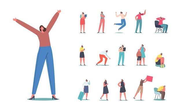 Set of female characters, happy woman jump with raised arms, depressed girl crying sit on chair, traveler with suitcase and smartphone isolated on white background. cartoon people vector illustration
