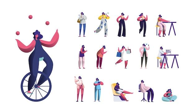 女性キャラクターのライフスタイルを設定し、モノホイールでボールとジャグリングする若い女性、スマートフォンで女の子のメッセージング、ショッピング