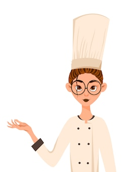 Set of female characters. woman cook points to the hand to the side. vector illustration.