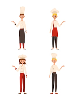 Set of female characters. womans cook points to the hand to the side. vector illustration.