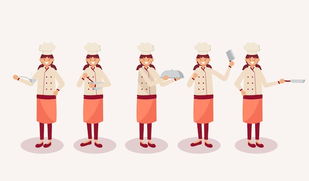 Set of female chef in cartoon character with different actions, isolated   illustration