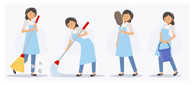 Set of female cleaner in various action,sweeping,mopping,dusting. flat vector cartoon character illustration.