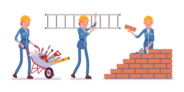 Set of female construction worker