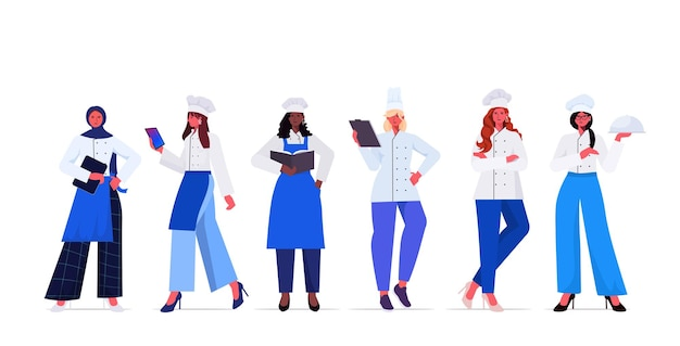 Set female cooks in uniform beautiful women chefs cooking food industry concept professional restaurant kitchen workers collection full length horizontal vector illustration