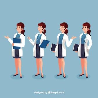 Set di medico femminile con cartella