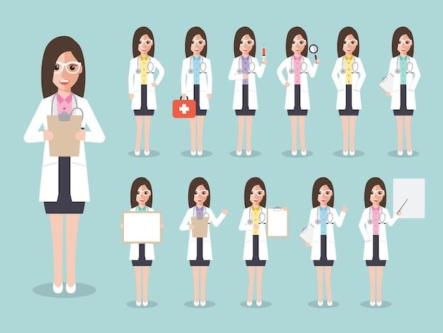 Set of female doctors, medical staff.