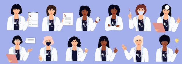 A set of female doctors in white gowns with different medical supplies. african american and caucasian women. hospital staff.