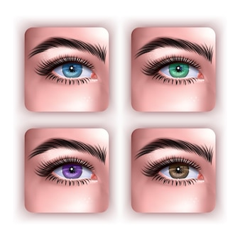 A set of female eyes in realistic style isolated