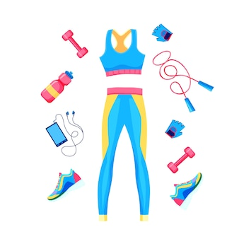 Set of female fitness equipment top, leggins, dumbbell, rope and sneakers poster template