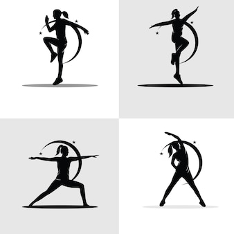 Set of female gymnastic silhouettes collection