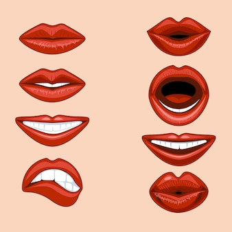 Set of female lips expressing different emotions in a comic style.