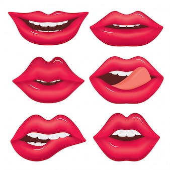 Set of female lips in various emotions.