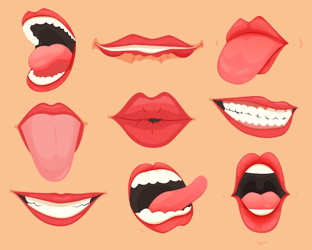 Set of female lips with various mouth emotions and expressions.  illustration.