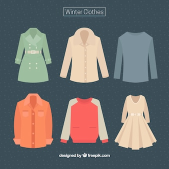Set of female and male winter clothes