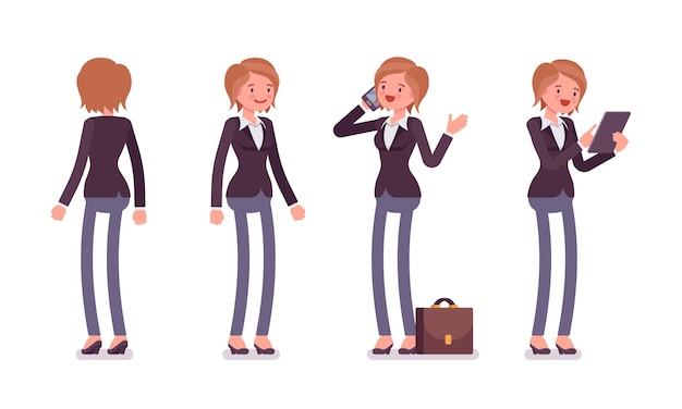 Set of female manager in standing poses, rear, front view
