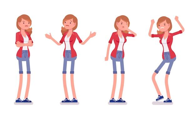 Set of female millennial, negative emotions