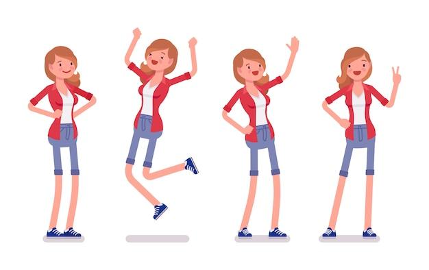Set of female millennial, positive emotions