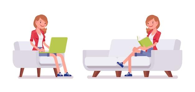 Set of female millennial, sitting pose
