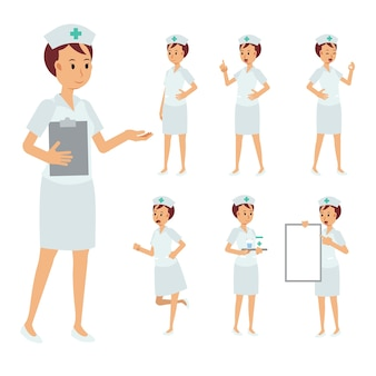 Set of female nurse character isolated on white