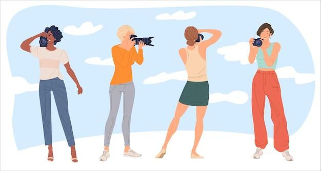 Set of female photographers