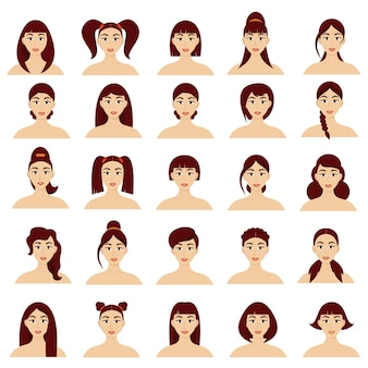 Set of female portraits with different hairstyles. beautiful young brunette girls. vector isolated on white background. cartoon style.