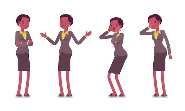 Set of female professional teacher showing negative emotions