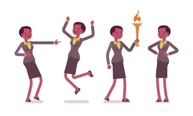 Set of female professional teacher showing positive emotions