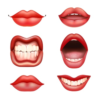 Set of female red lips with teeth