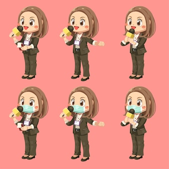 Set of female reporter holding a microphone to report the news in cartoon character, isolated flat illustration