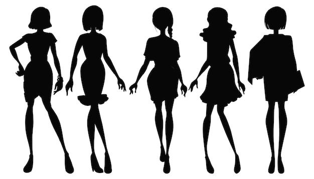 Set di silhouette femminile