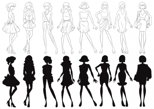 Set of female sketch and silhouette