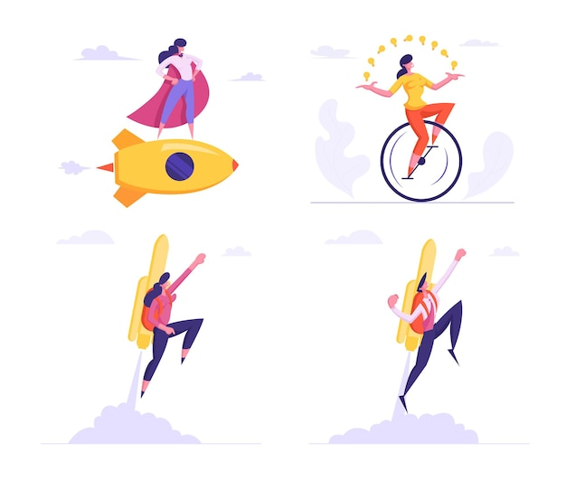 Set female super employee with arms akimbo flying on golden rocket and riding monocycle