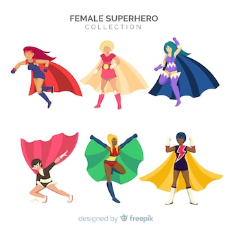 Set of female superhero characters in cartoon style