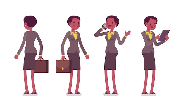 Set of female teacher in standing poses, rear, front view