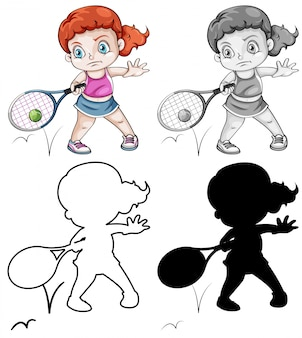 Set of female tennis player