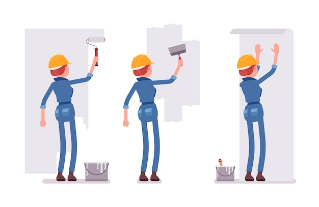 Set of female worker working with walls