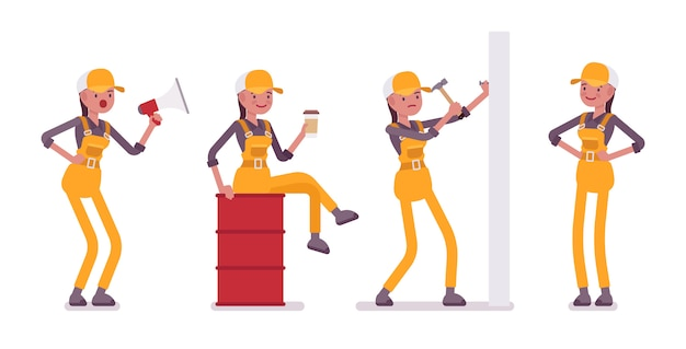 Set of female worker in yellow overall with tools